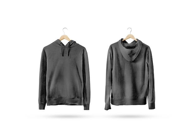 Blank black sweatshirt mockup set hanging on wooden hanger
