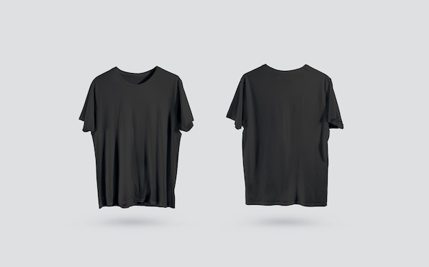 Blank black t-shirt front and back side view, design