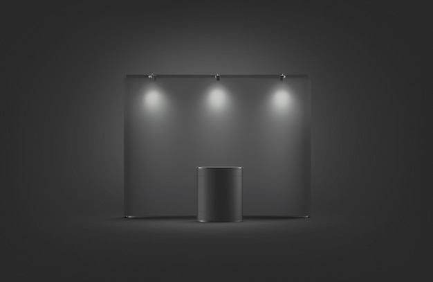 Blank black trade show booth mock up, on dark background, 3d rendering.