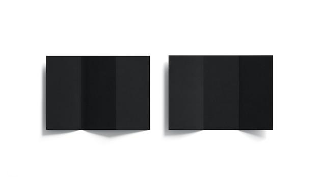 Набор пустых черных три сложенных буклетов, открытый вид сверху