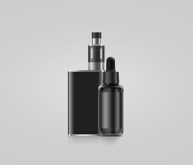 Blank black vape mod box with juice bottle isolated