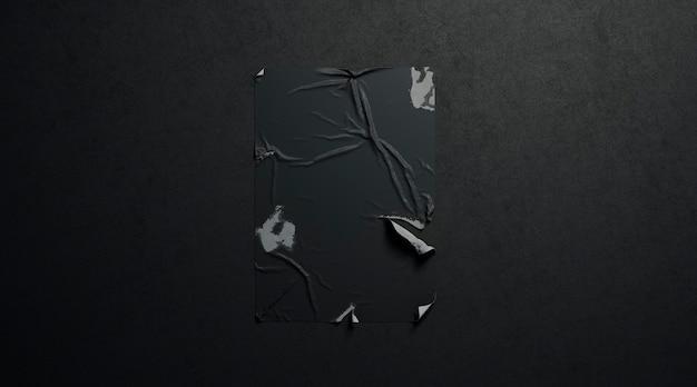 Пустой черный клей пшеничной пасты рваный плакатkr темная текстурированная стена