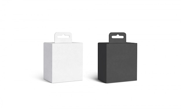 Blank black and white accessory box with hanger