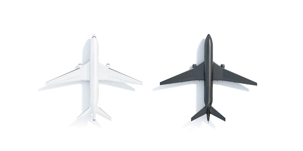 Blank black and white airplane  stand, top view isolated, 3d rendering.
