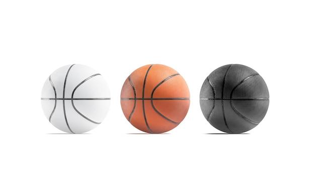 空白の黒白と茶色のバスケットボールボールのモックアップモックアップをプレイするための空のバスケットボール球