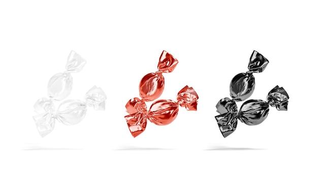 空白の黒、白、赤の飴玉ラッパーのモックアップ甘いボンボンのモックアップ用の空のセロハン