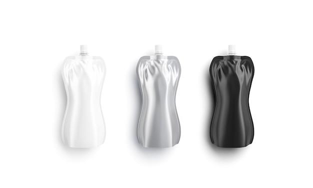 Пустая черная, белая и серебряная мягкая бутылка лежа, изолированные