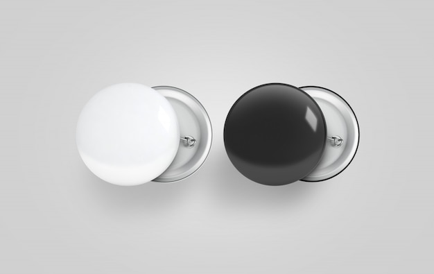 Blank black and white button badge