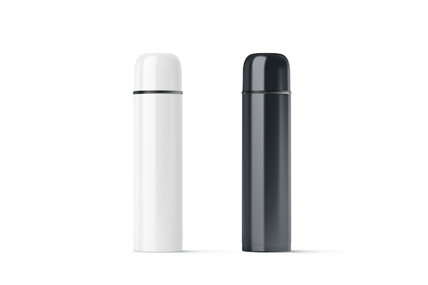 Blank black and white closed travel thermos