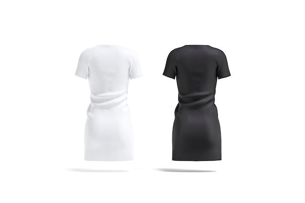 Blank black and white cloth dress mockup empty textile casual jersey or gown mock up isolated