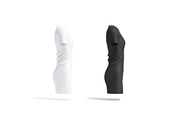 Blank black and white cloth dress mockup set side view empty midi gown or long tshirt mock up