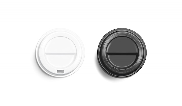 Blank black and white disposable coffee cup lid