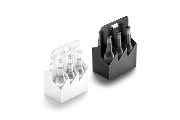 Blank black and white glass beer bottle cardboard holder mockup empty carton sixpack mock up