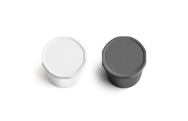 Blank black and white ice cream bucket round lid mockup empty vanilla or chocolate sundae mock up