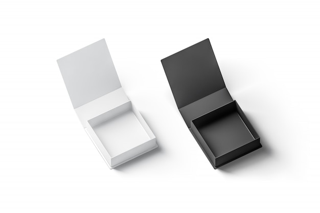 Blank black and white opened gift boxes