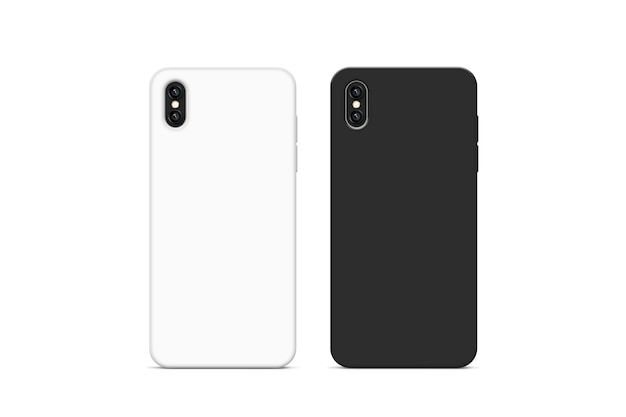 Blank black and white phone case, 3d rendering