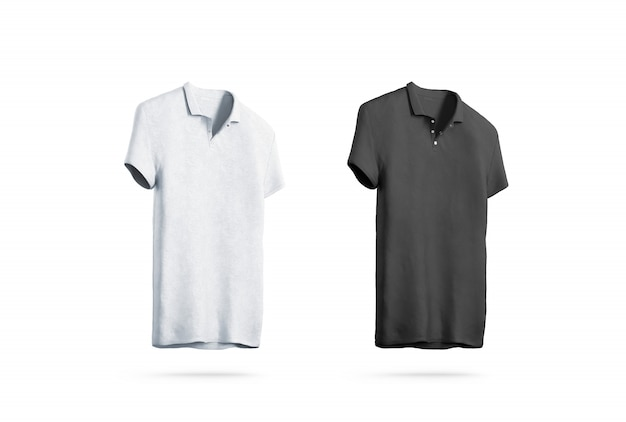 Blank black and white polo shirt isolated