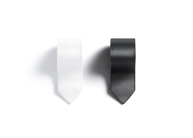 Blank black and white rolled neck tie mockup isolated empty folded acessory for gentleman mock up