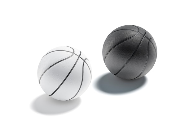 Blank black and white rubber basketball ball mockup empty textured sphere basketbal match mock up