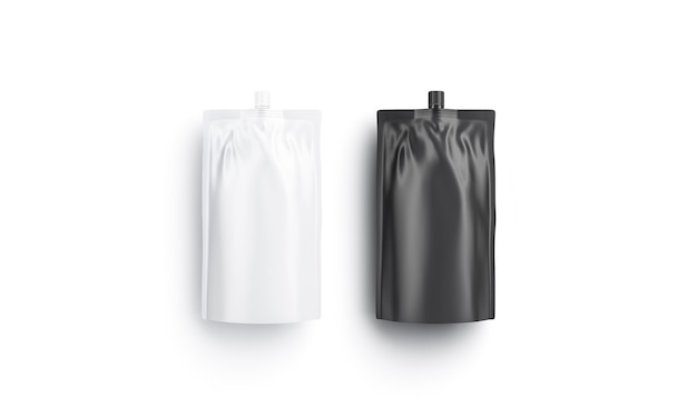 Blank black and white sause doy-pack , top view