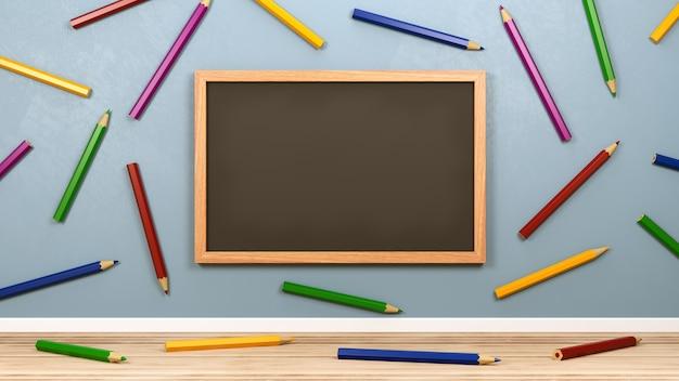 Пустая доска и цветные карандаши в комнате