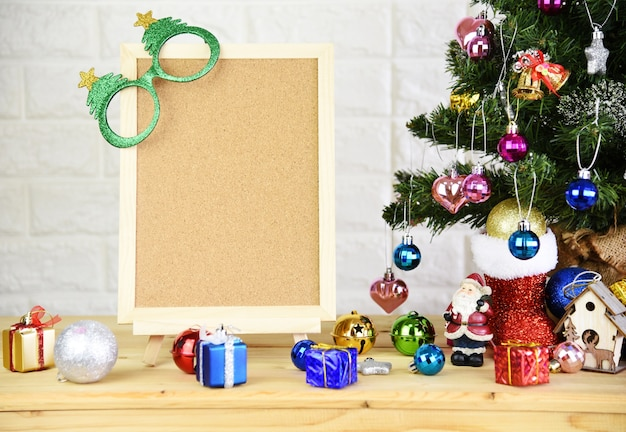 Blank blackboard and christmas-tree background and 2019 happy new year