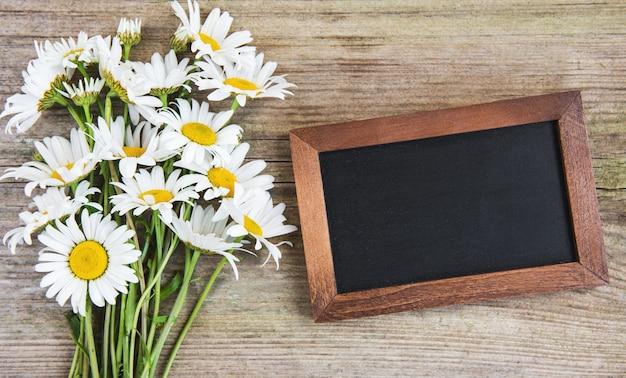 Blank blackboard with chamomile flowers
