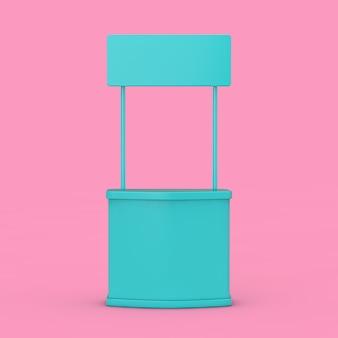 빈 파란색 전시 광고 프로모션 스탠드는 분홍색 배경에 이중톤을 모의합니다. 3d 렌더링