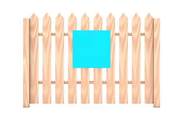 白い背景の上の木製の柵にぶら下がっているあなたのデザインのための空白の青い紙。 3dレンダリング