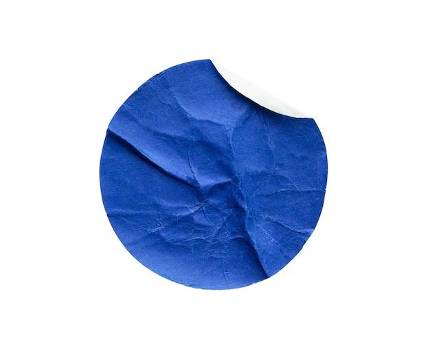 흰색 배경에 고립 된 빈 파란색 라운드 접착 종이 스티커 라벨