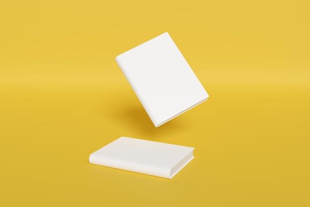 黄色の背景に分離された空白の本の表紙のモックアップ。