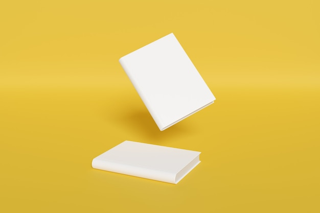 Blank book cover mockup isolated on yellow background.