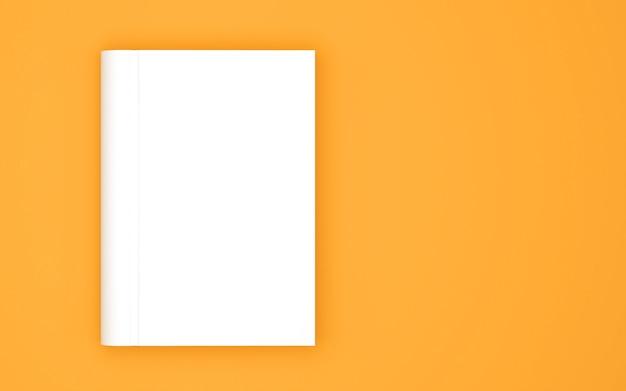 黄色に分離された空白の本の表紙のテンプレート