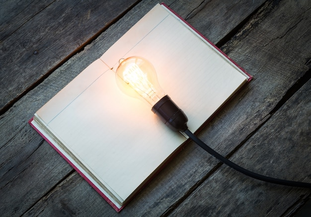 Blank book with a lit lightbulb on top
