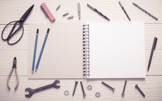 Blank book with tools for design.with filter effect retro vintage style