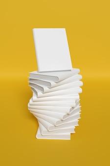 空白の本は、黄色の背景に分離されたモックアップをカバーしています。