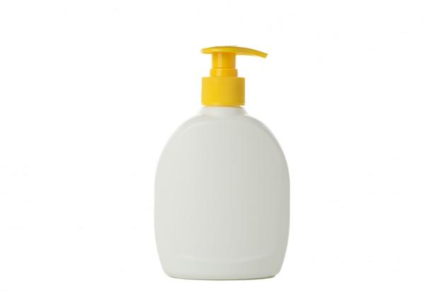 Пустая бутылка для мыла, изолированные на белом фоне