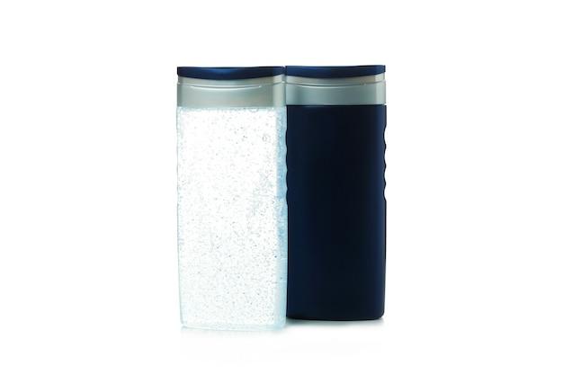흰색 격리 된 배경에 고립 된 샤워 젤의 빈 병