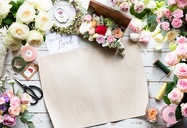 Blank bouquet paper on florist table workshop