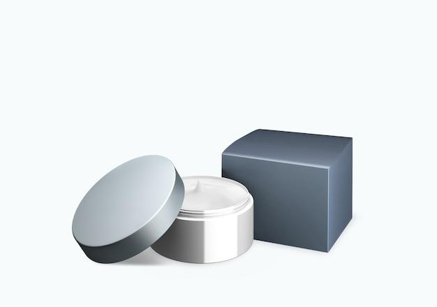 빈 밝은 회색 화장품 항아리 전면보기 각도, 3d 일러스트에서 얼룩 크림과 함께 흰색 배경에 조롱