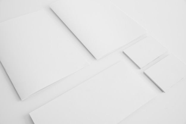 Blank brochures and business cards