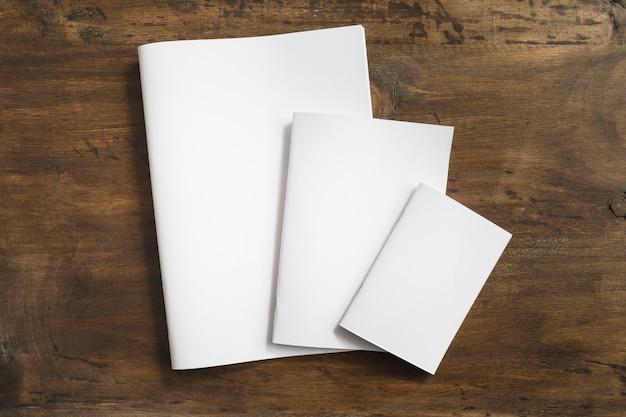 Blank brochures in three sizes