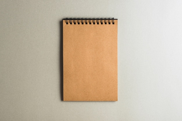 Blank brown diary on plain background