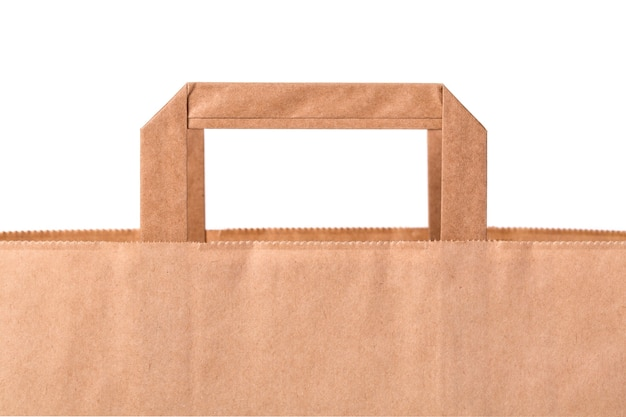 白い背景に分離された空白の茶色の紙袋