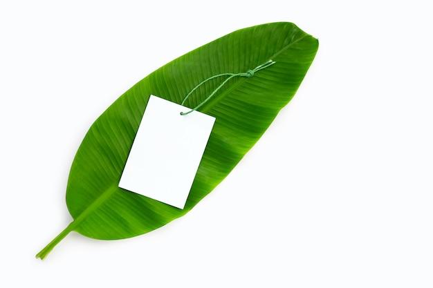 Blank brown paper on banana leaf. copy space