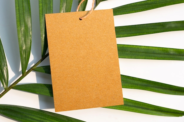 Blank brown paper on tropical palm leaves.  copy space