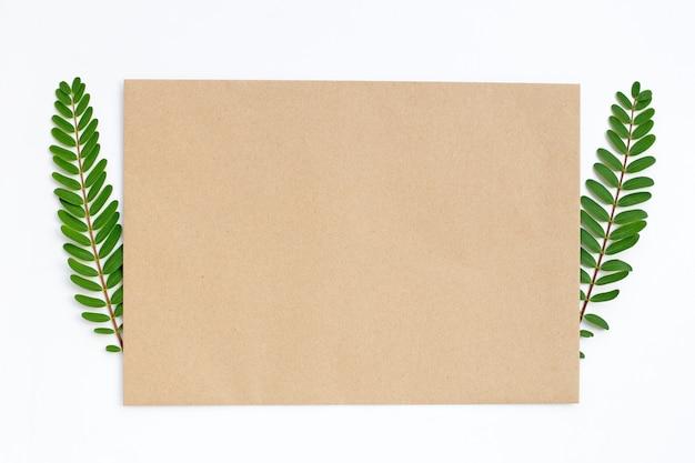 Пустая коричневая бумага с зелеными листьями. копировать пространство