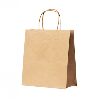 Blank brown recycled paper bag isolated on white background