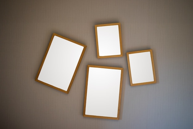 Blank brown wooden picture frame on ancient background.