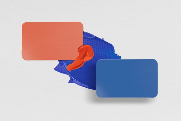 Blank business card mockup in modern blue and red
